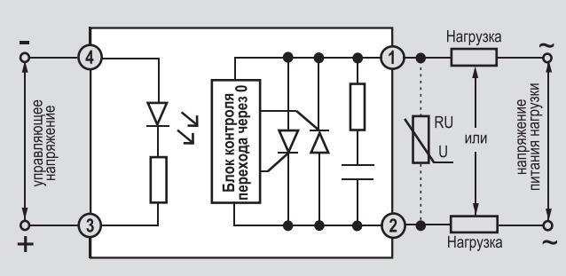 Схема включения твердотельных реле KIPPRIBOR sBDHxxxZD3